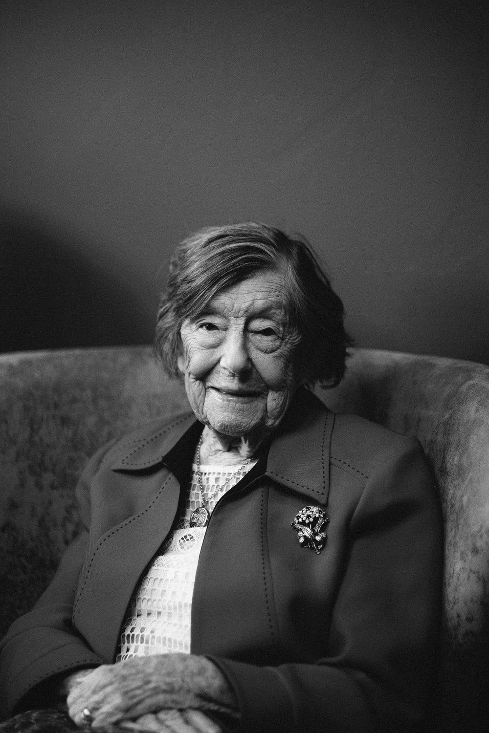 Black and white portrait of an old lady at a wedding at Malmaison Newcastle