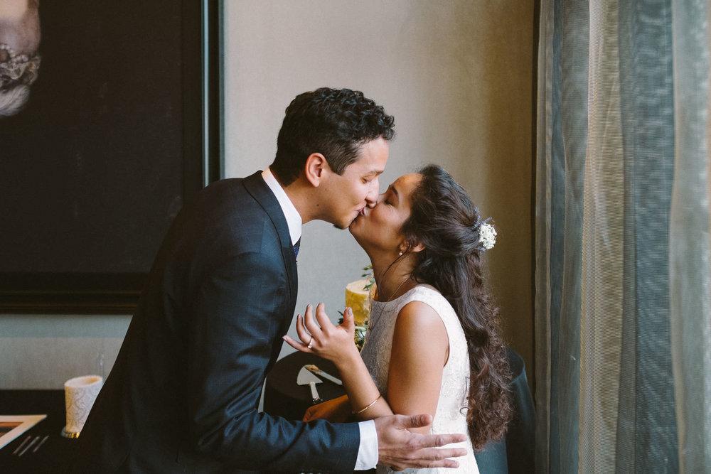 Bride and groom kiss at Malmaison Newcastle