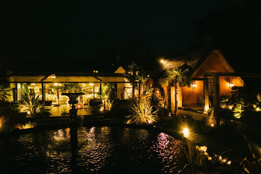 A night shot of Le Petit Château