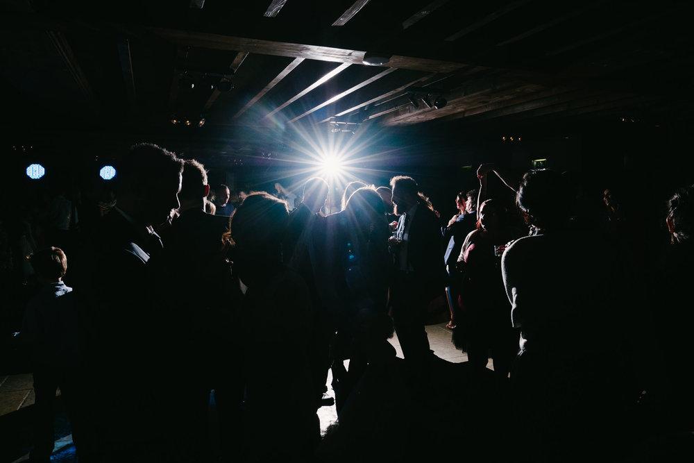 Crowded dancfloor at Le Petit Château wedding