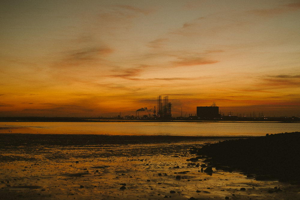 Sunset over South Gare steelworks