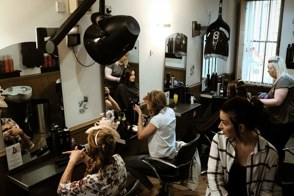 Bridal party having hair styled in Alnwick Northumberland