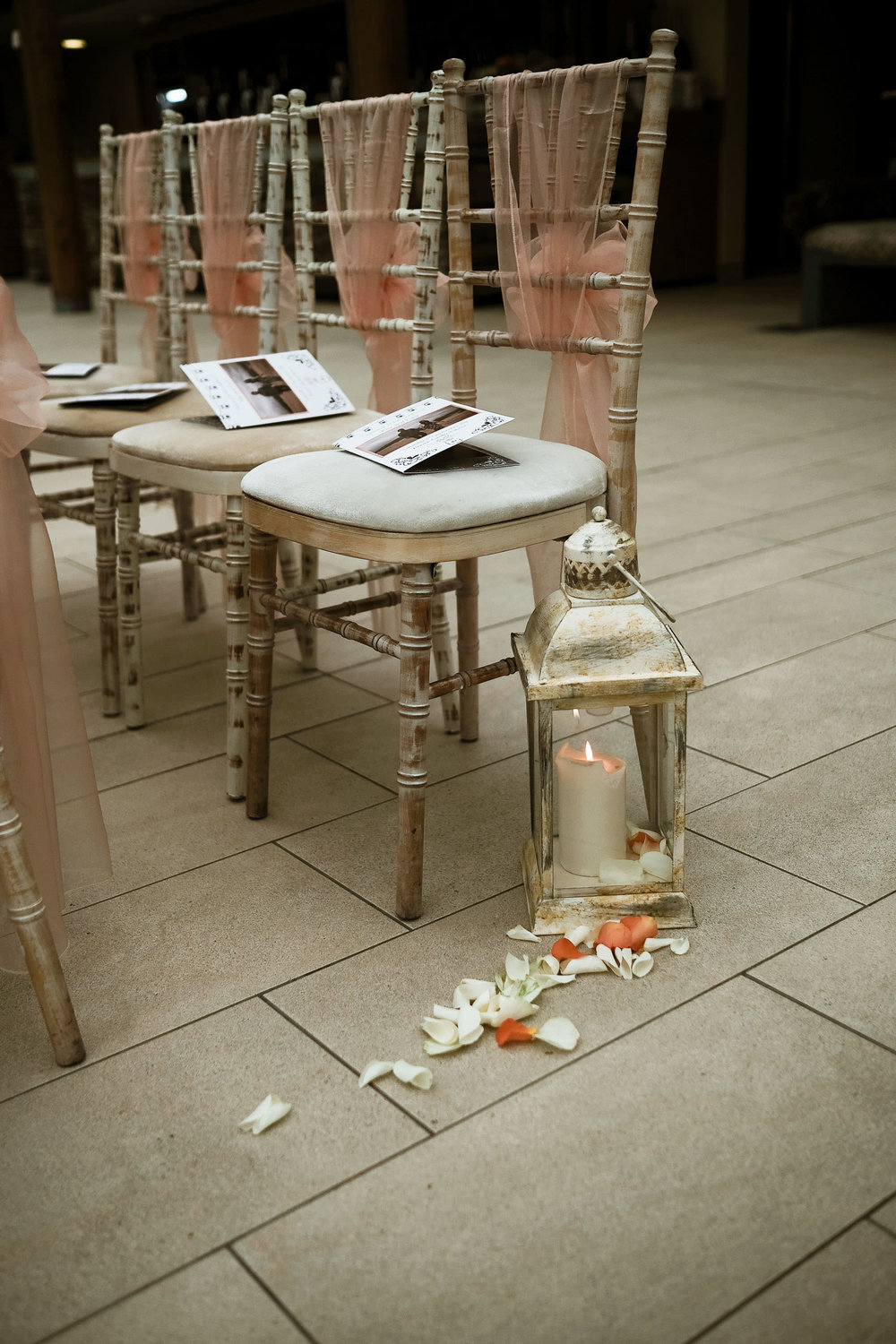 Detail of chairs during wedding ceremony at the Alnwick Garden