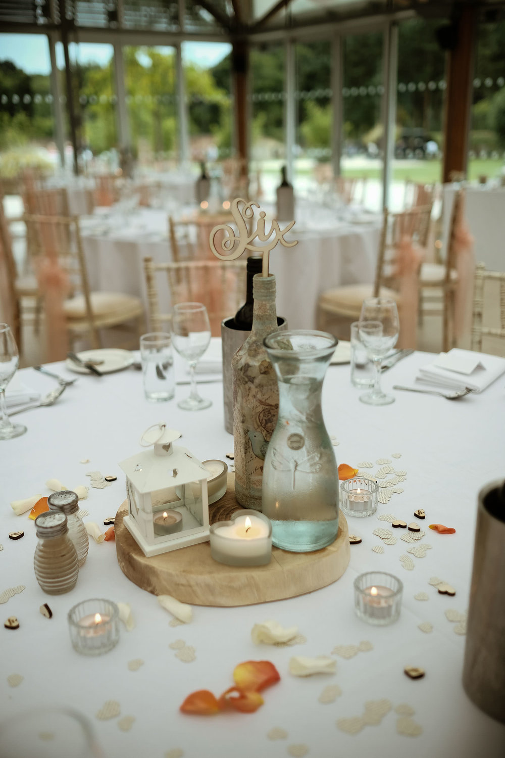 Close up of table detail for wedding reception