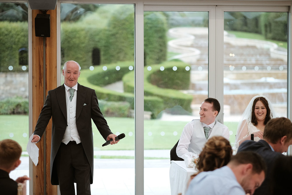 Father of Bride giving speech at wedding