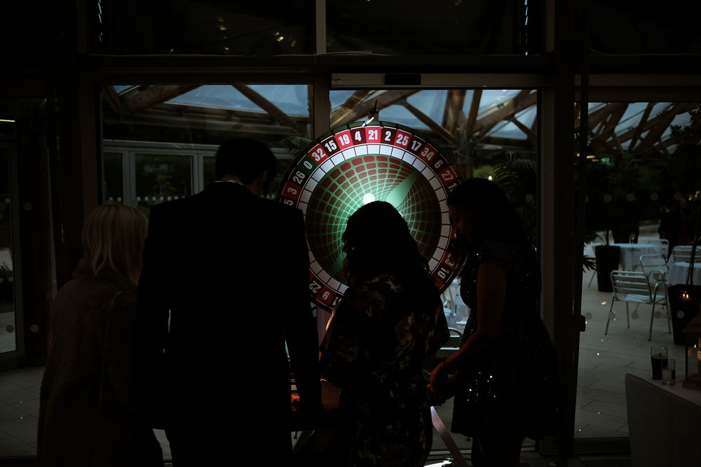 Moody shot of the roulette table at Alnwick Garden wedding