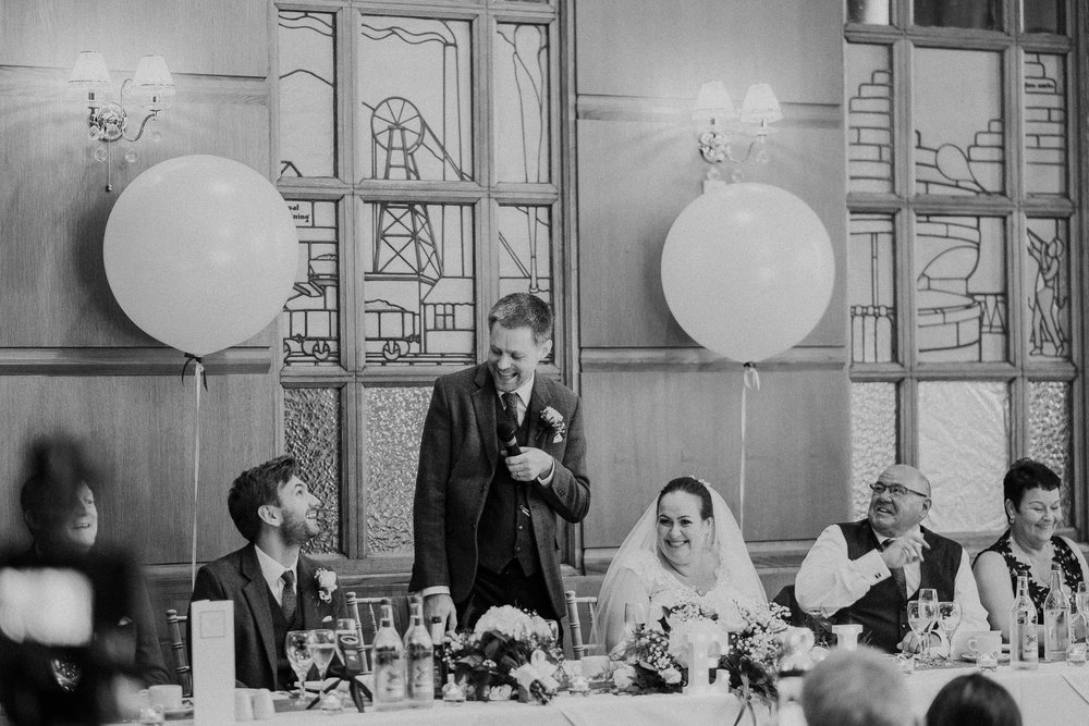 Black and white photo of groom's speech at the Vermont Hotel