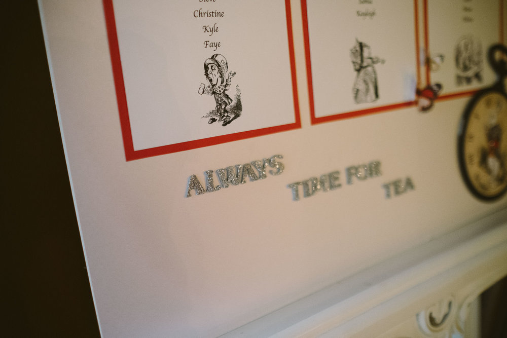 Seating plan with quote from Alice in Wonderland