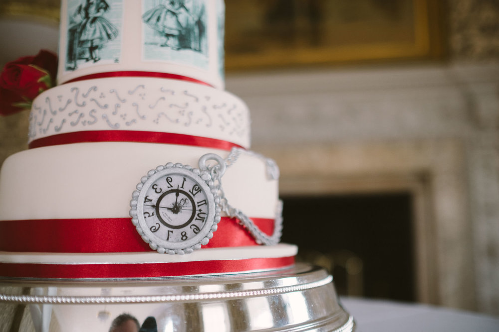 Alice in Wonderland themed wedding cake detail