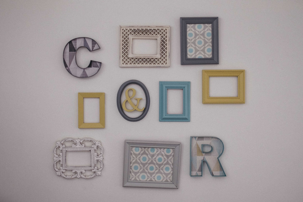 Bride and groom's initials on wall decoration