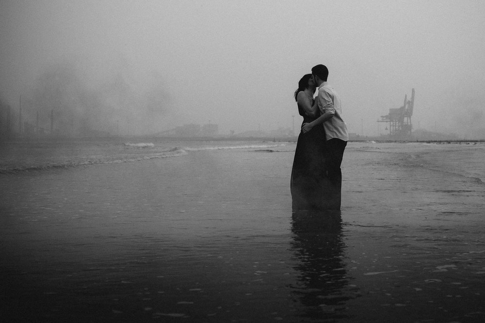 Black and white photo of couple kissing on preceding session at Blue Lagoon Hartlepool