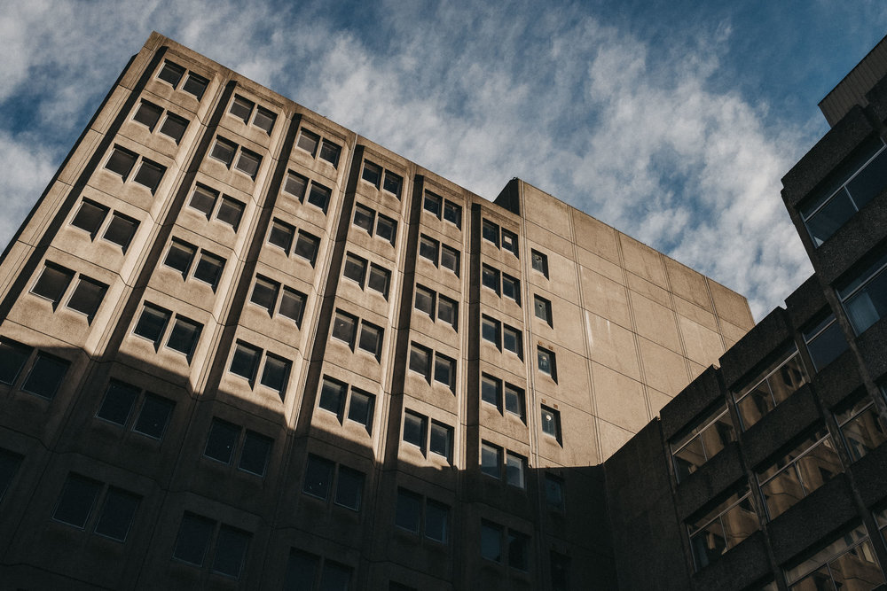1960's concrete office block above wedding venue
