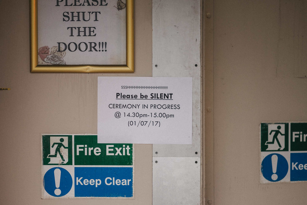 Funny sign at wedding venue asking people to be silent during ceremony