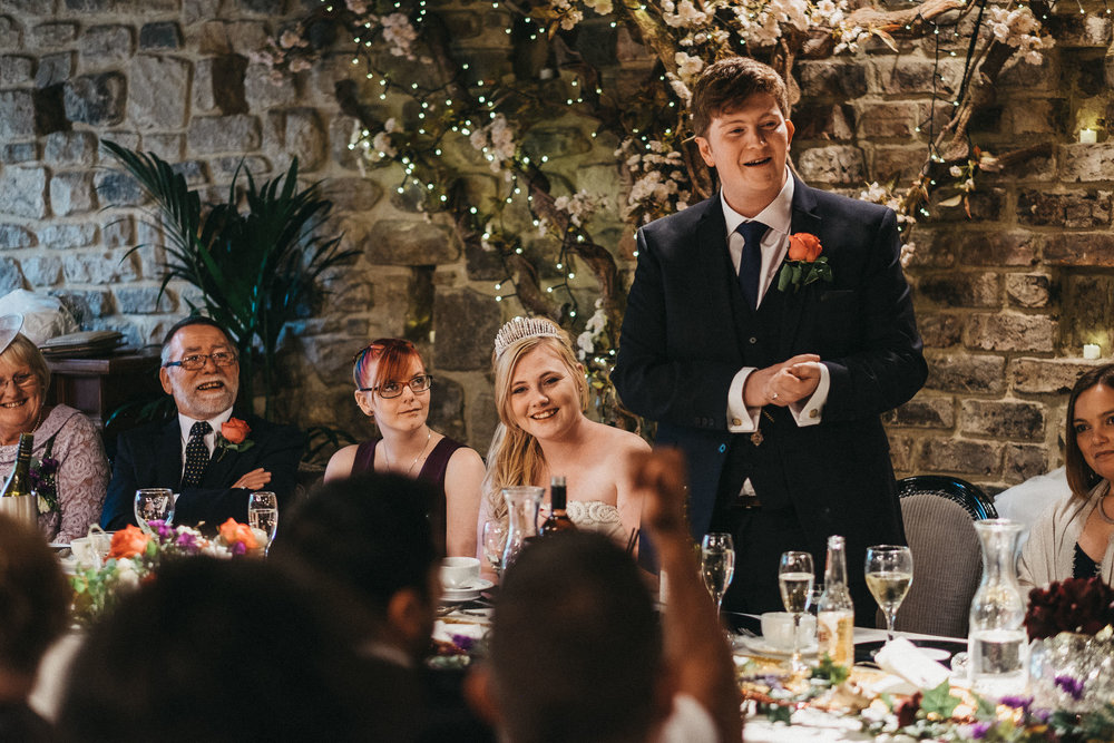 Groom gives speech at As You Like It wedding