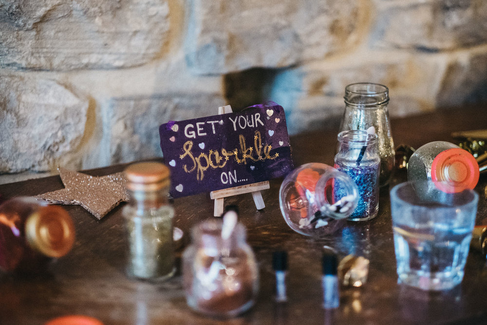 Glitter station at wedding in Newcastle upon Tyne