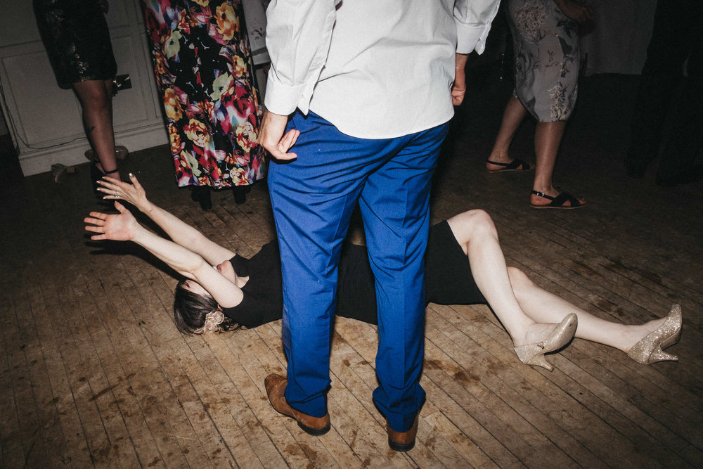 Wedding guest falls on floor while dancing