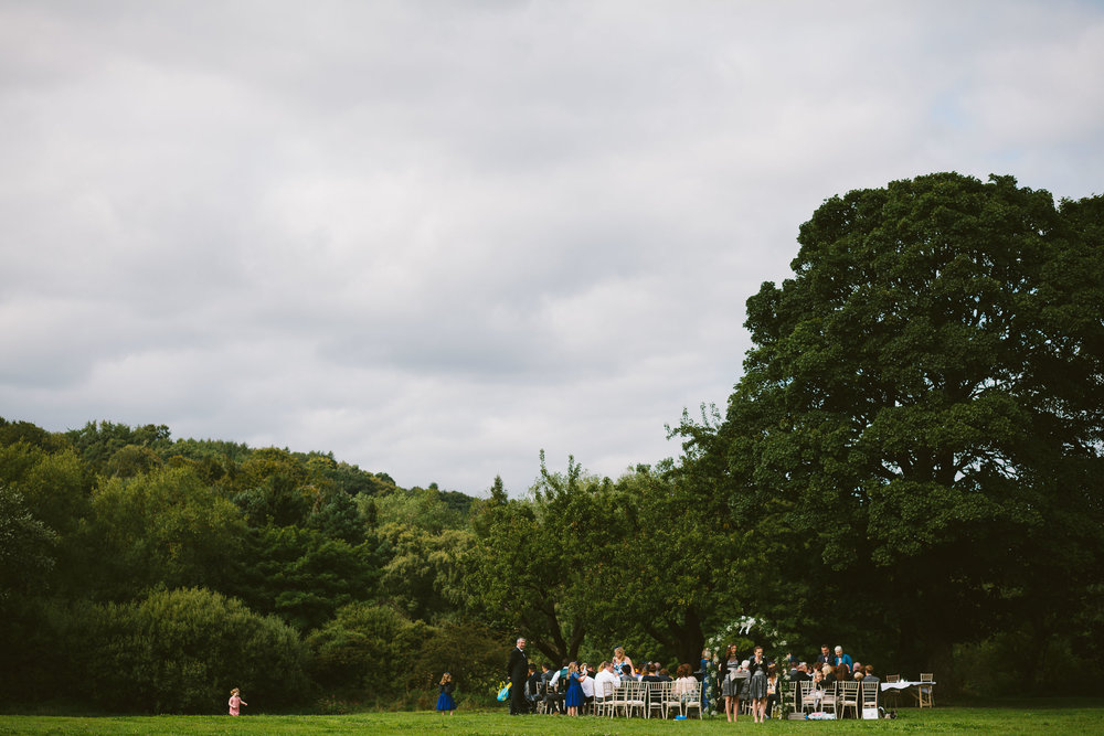 Field set up for an outdoor humanist wedding ceremony in County Durham