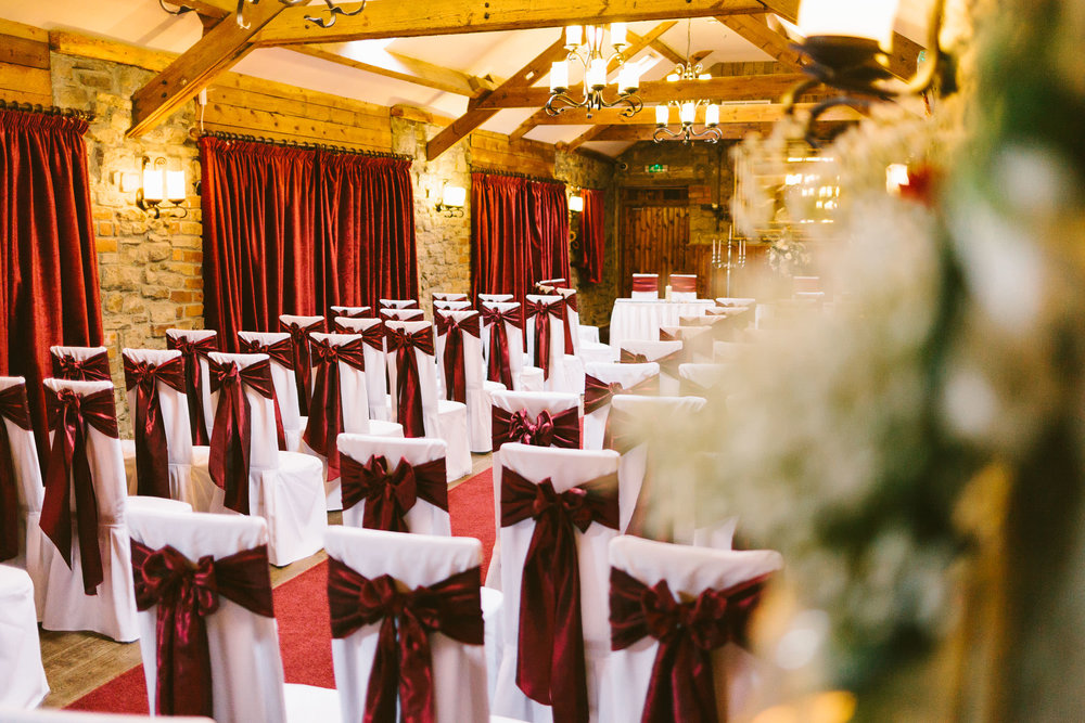 chairs set up for wedding in Durham suite South Causey Inn