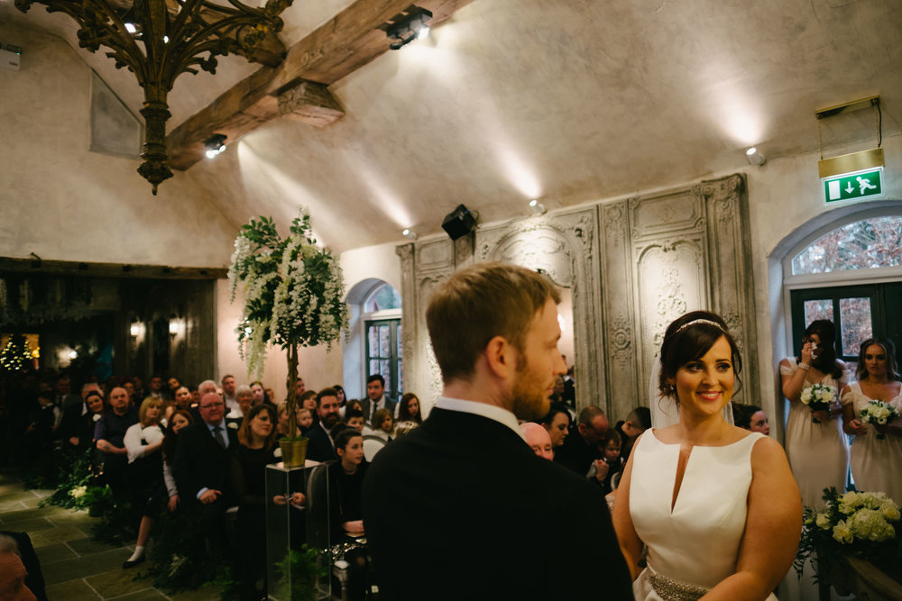 Alex & Sam's wedding ceremony in the French chapel