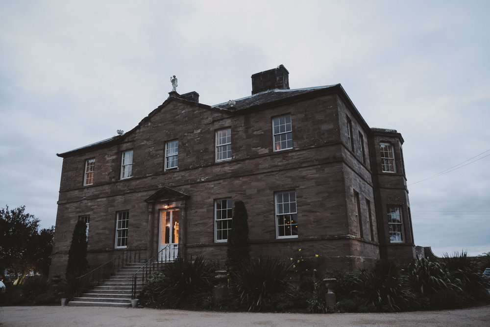 Newton Hall Northumberland wedding venue at dusk