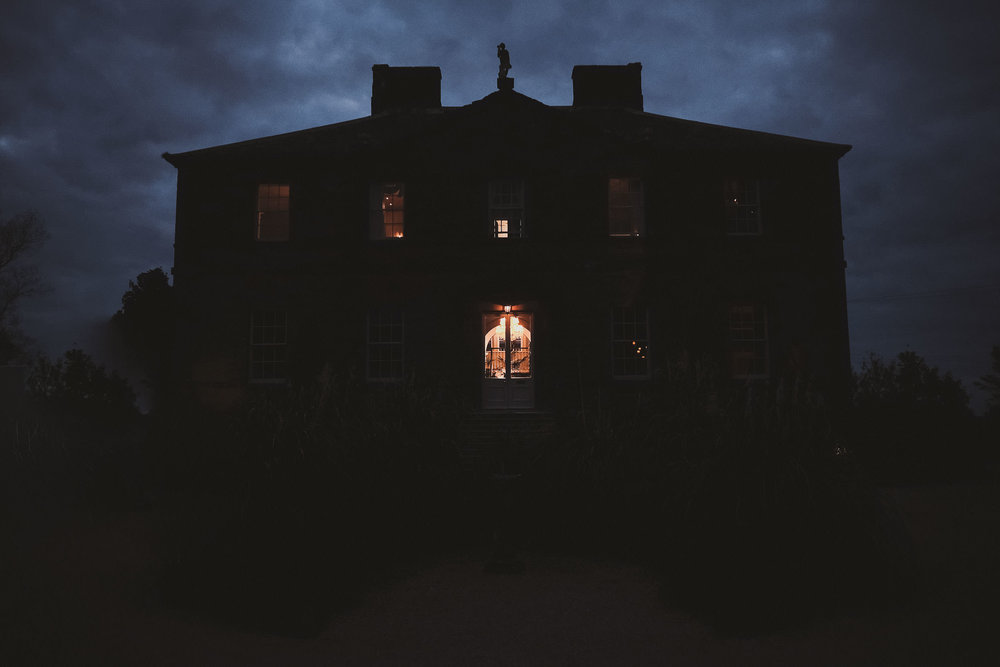 Newton Hall at night