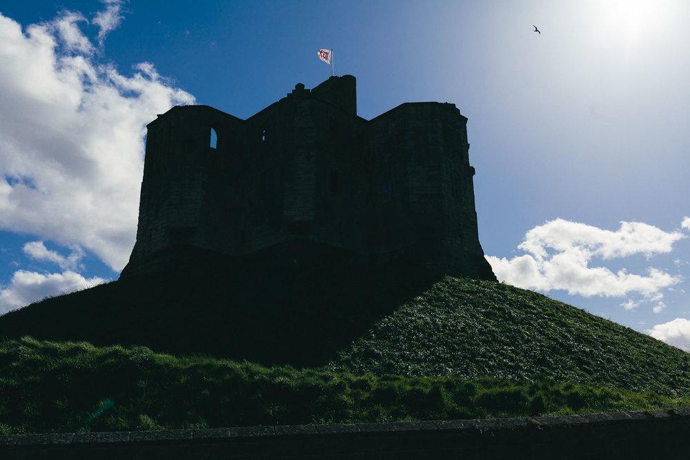 Warkworth castle silhouette