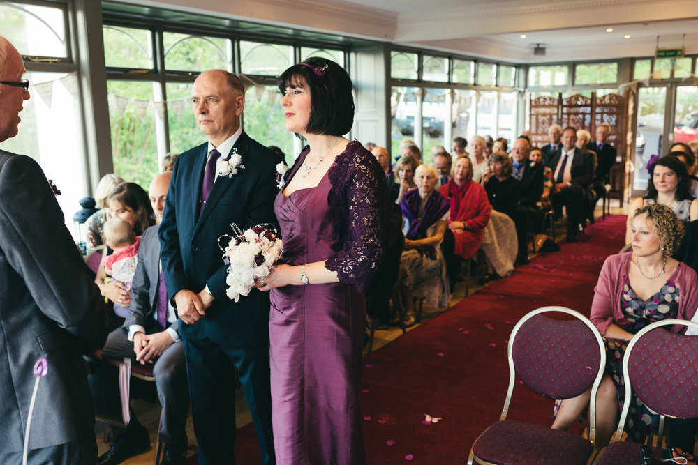 Bride and groom during wedding ceremony in Northumberland