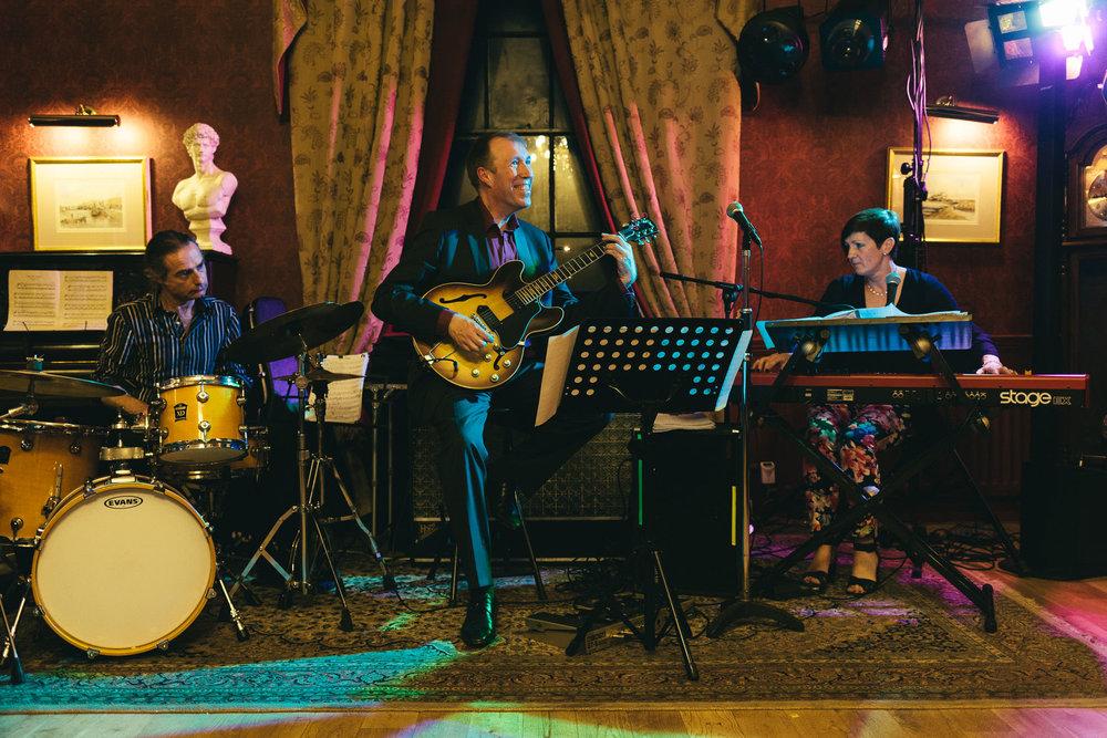 Band play music at wedding in Northumberland