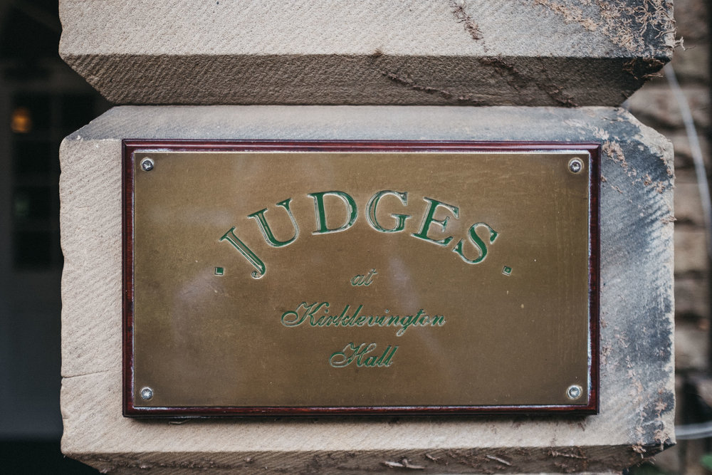 Brass sign at Judges at Kirklevington Hall