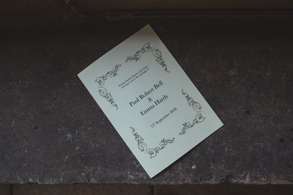 Order of ceremony for Emma and Paul's wedding