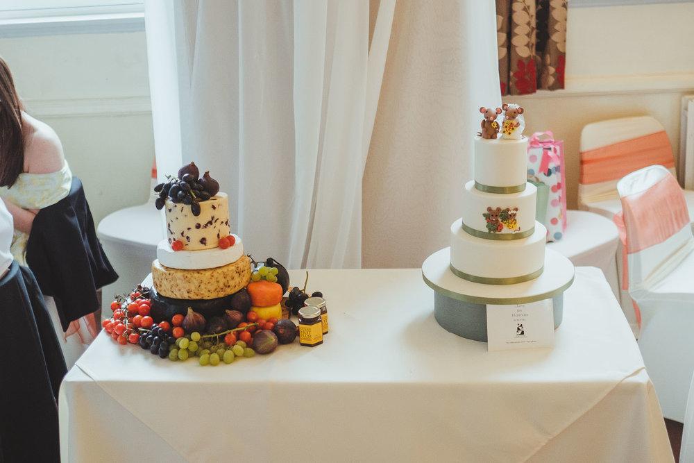 Wedding cake and cheese wheel