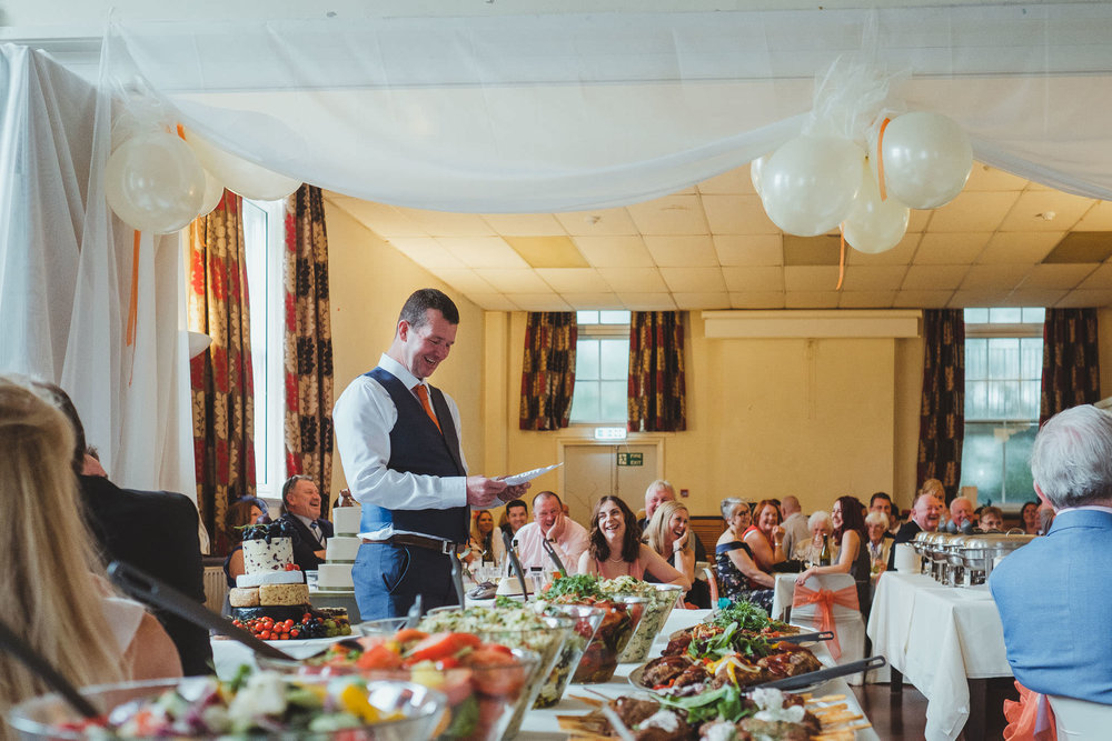 The best man gives a speech at the Wylam Institute