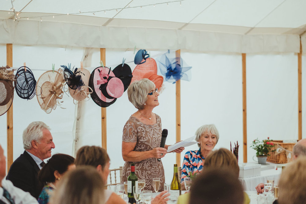 The bride's mother gives a wedding speech