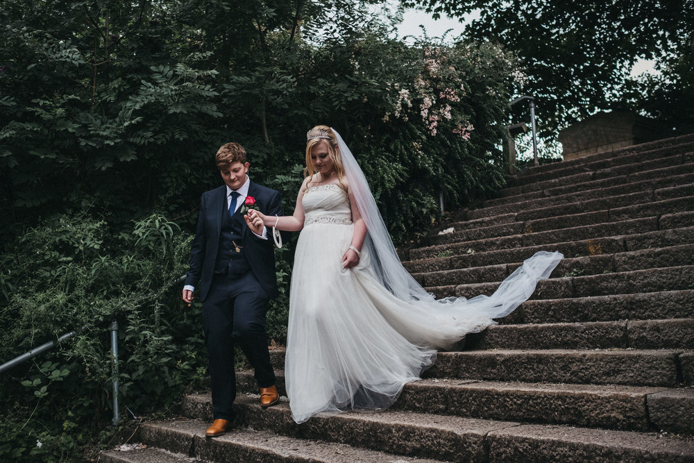 Beth and Lee in Jesmond Dene following their wedding at As You Like It in Newcastle