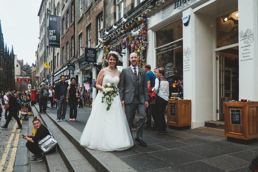 Angela and Andy making their way through the Edinburgh Fringe crowds