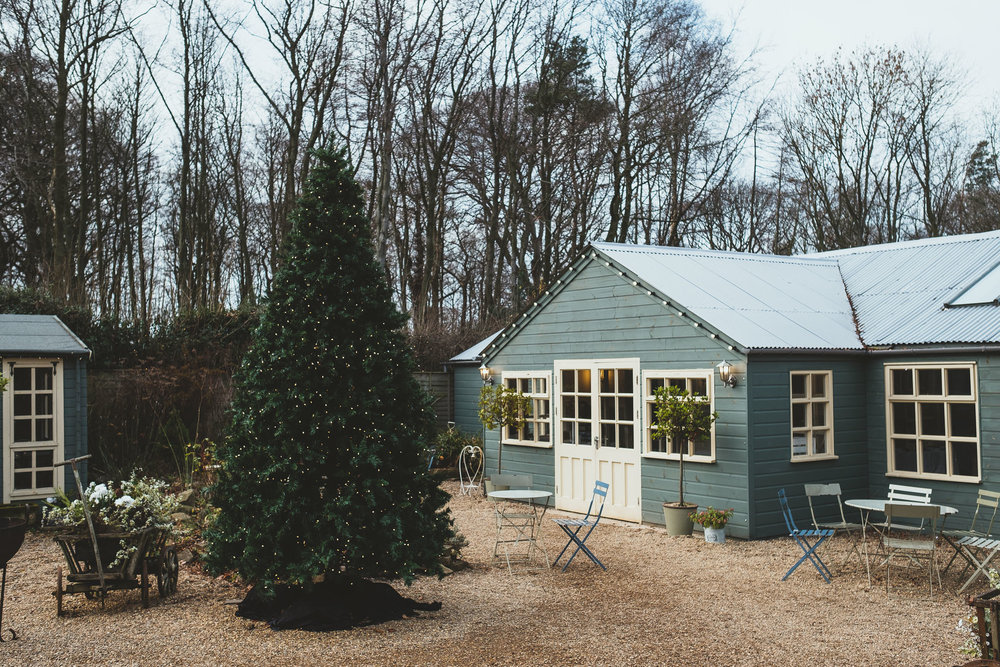 Courtyard with Christmas tree at The Parlour at Blagdon wedding venue in Newcastle
