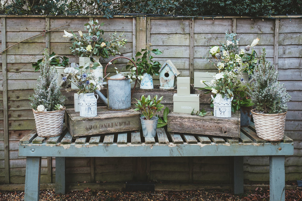 Potted plant display at The Parlour at Blagdon wedding venue