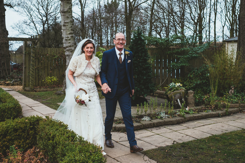 Bride arriving at The Parlour at Blagdon with her father