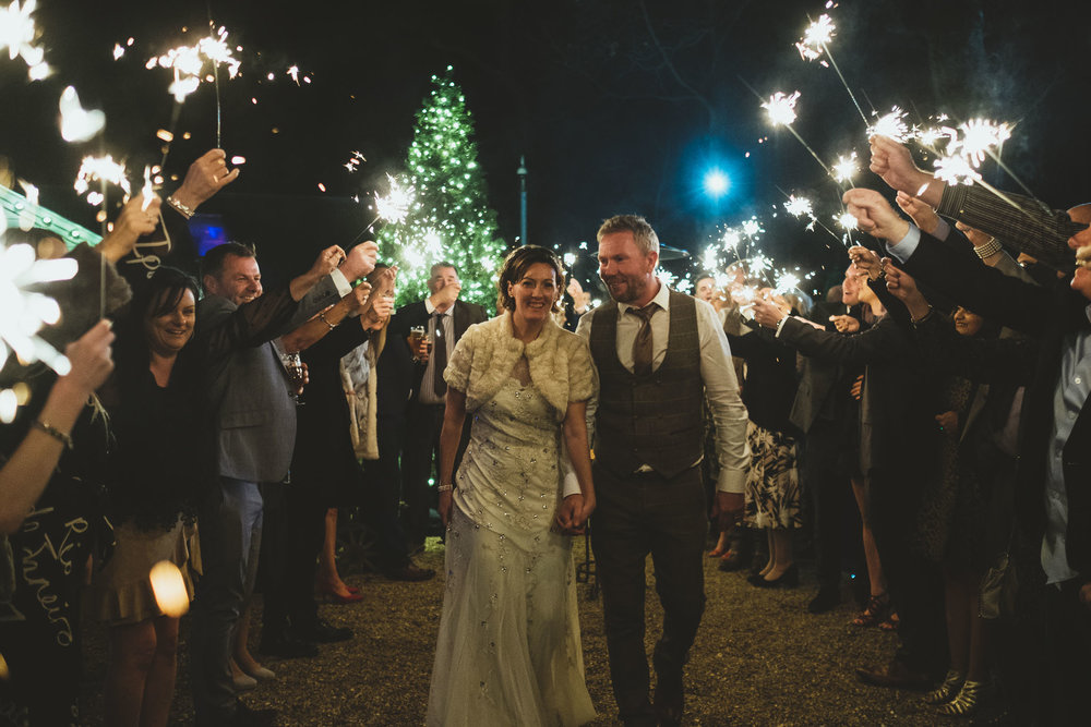Bride and groom sparkler exit at The Parlour at Blagdon in Newcastle