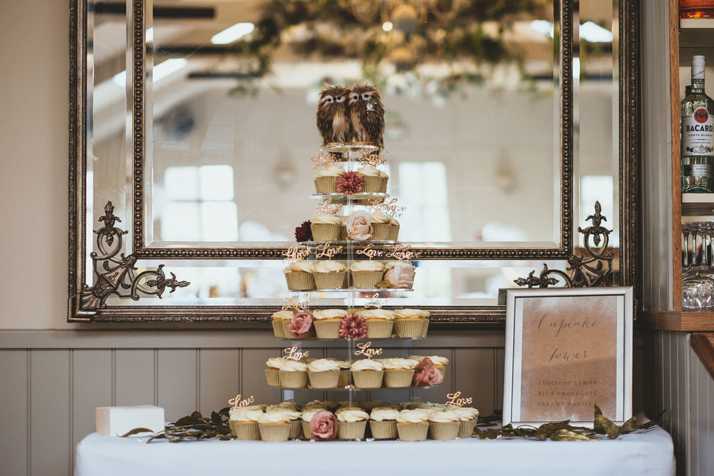 Angela and Dave's cupcake tower with owl toppers.