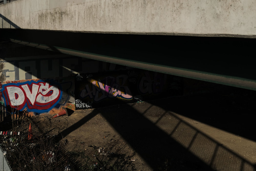 Abstract photo of concrete walkways and graffiti in Newcastle