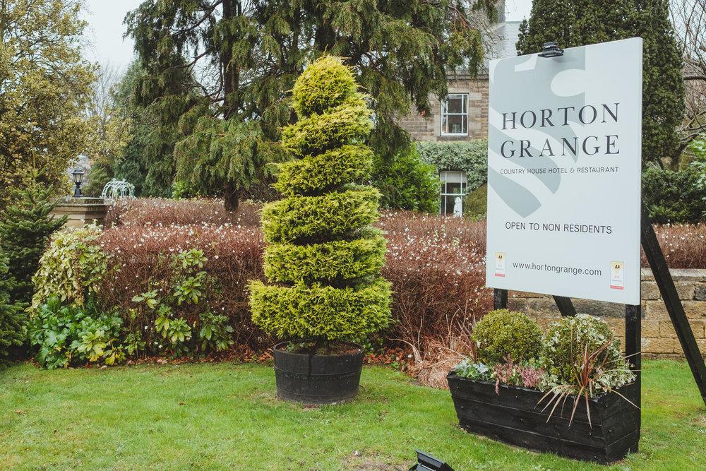 The entrance to Horton Grange Hotel wedding venue in Northumberland