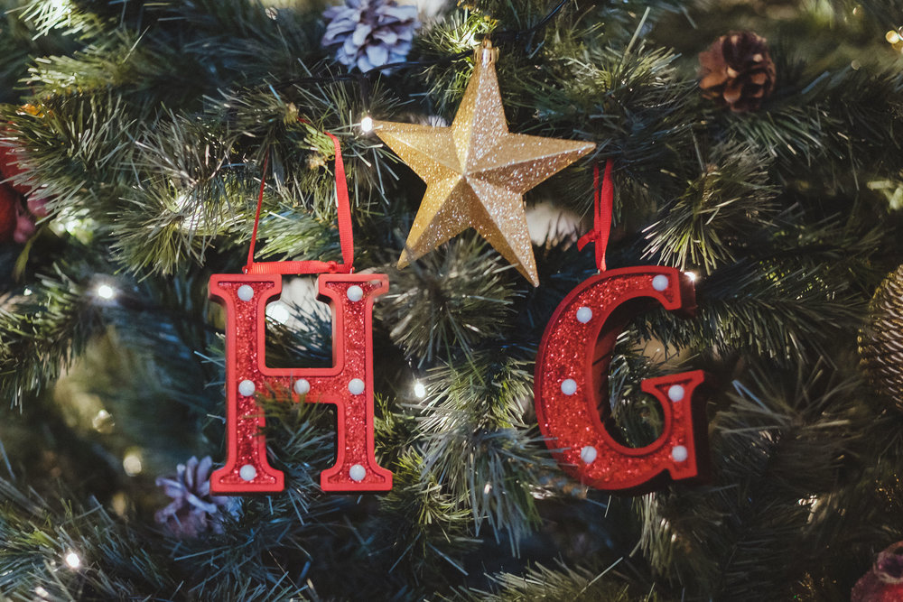 Christmas tree decorations at Horton Grange