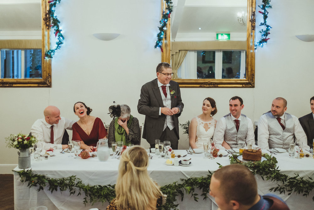 Father of the bride giving a wedding speech