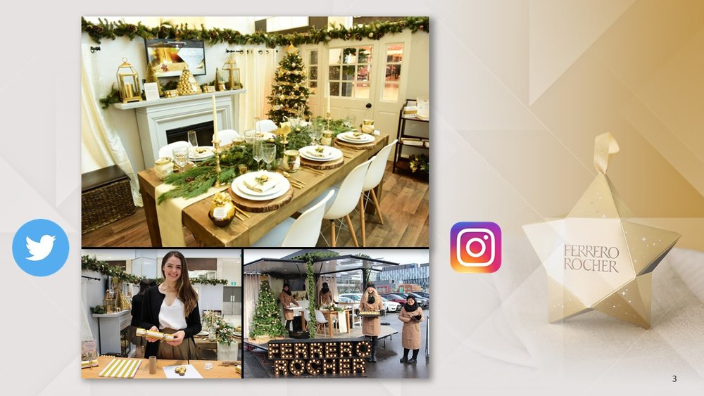 The campaign extended into malls where consumers could walk through a Ferrero Rocher inspired holiday home.  The entire experience was designed to be chock full of instagrammable-moments and we rewarded users of our hashtags with prize incentives.