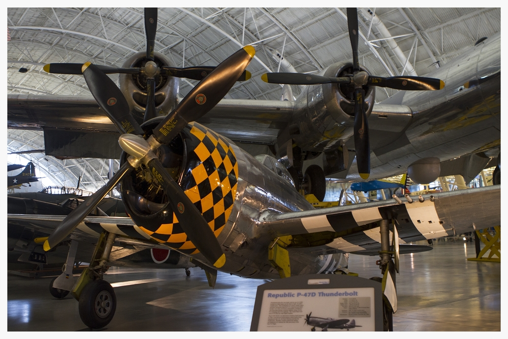 A P-47D on display at the Air & Space Museum's Steven F. Udvar-Hazy Center in Chantilly, VA.