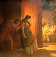 Clitemnestra y Egisto a punto de matar a Agamenón. Pintura de  Pierre Narcisse Guérin  . Museo del Louvre.