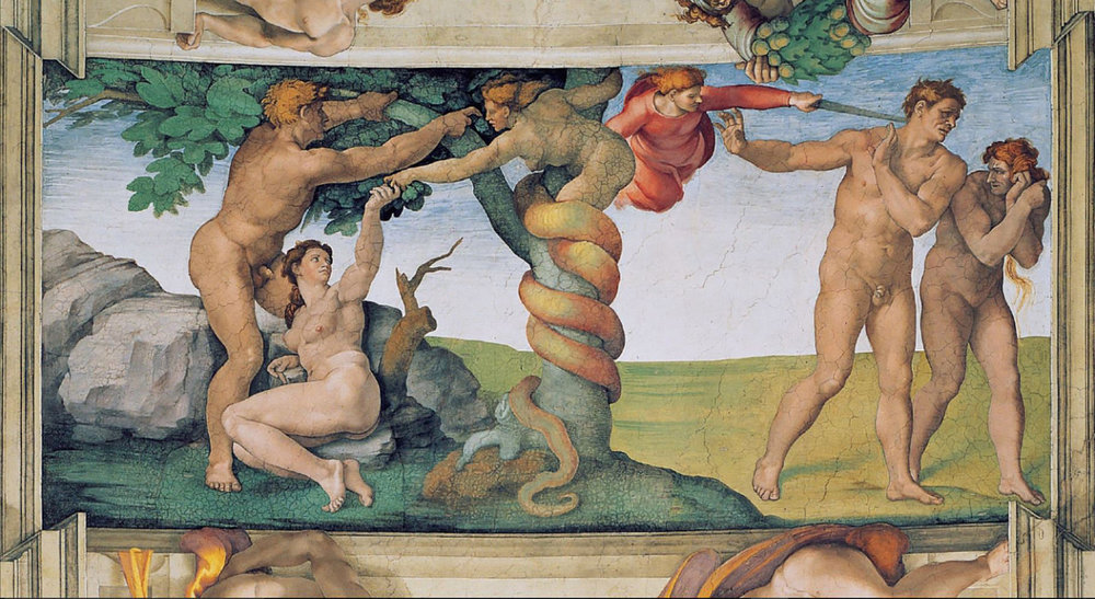 Miguel Ángel, La tentación de Adán y Eva y la expulsión del Paraíso. (Fresco de la Capilla Sixtina).