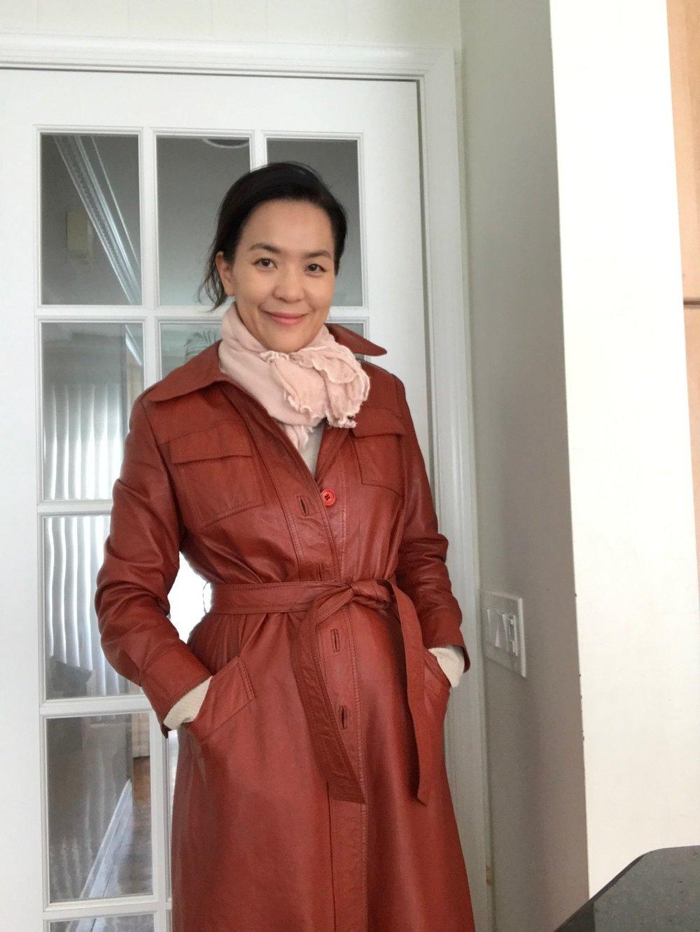 me wearing her jacket