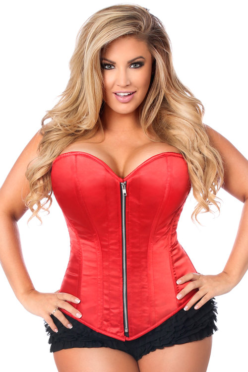 8075dcda7b TD-601.jpg. Top Drawer Red Satin Steel Boned Corset